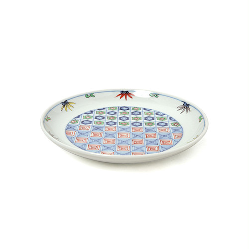 染錦更紗紋5.5寸丸皿