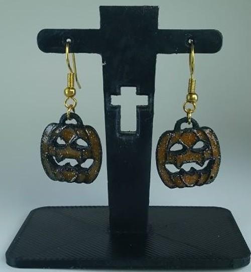 ハロウィン パンプキン(かぼちゃ)おばけ ピアス&イヤリング 「ブラックオレンジ」