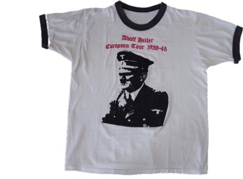 80's Adolf Hitler Print リンガー T-Shirts(白)