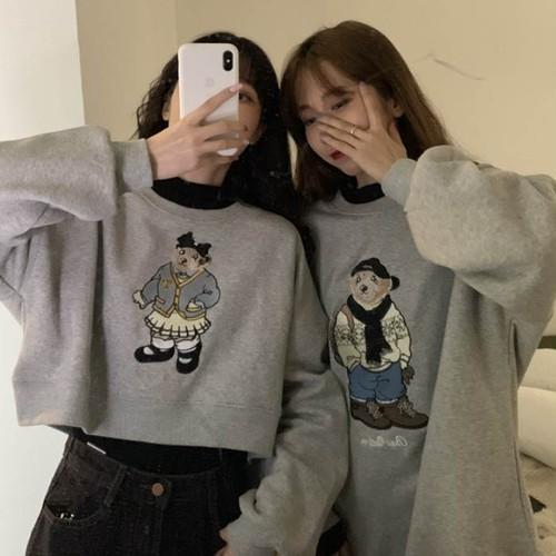 【送料無料】 選べる2タイプ♡ ラウンドネック プルオーバー トップス ショート丈 ロング丈 クマ 刺繍