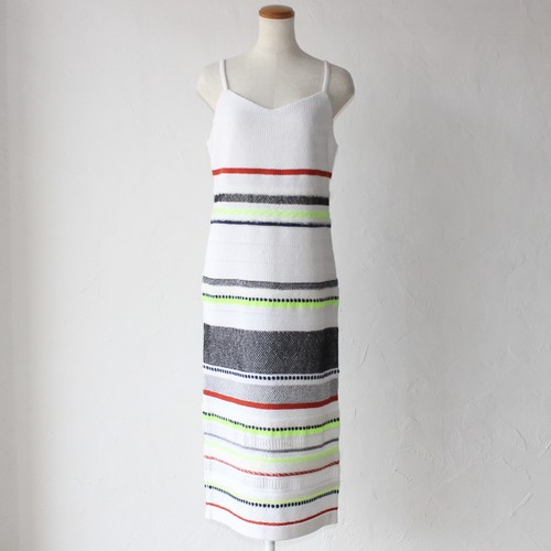 【COOHEM】sporty border knit onepiece-white