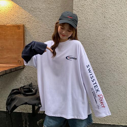 【トップス】ファッションカジュアル長袖ラウンドネックプルオーバーアルファベットTシャツ