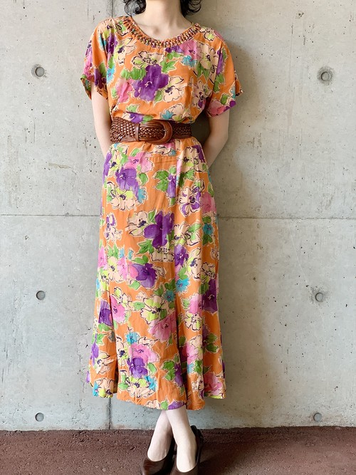 Vintage Rayon Floral Dress Made In USA  Made With Germany Fabric