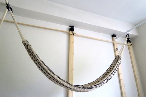 手染めで手編みのハンモック(ベース:ホワイト×アクセント:ネイビー)