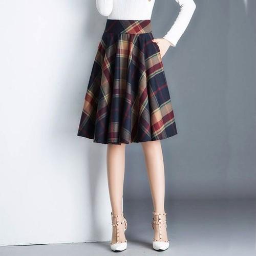 ミドル丈スカート 2色 M~4XL 大きいサイズ ボトムス スカート レディーススカート ミドル丈 チェック柄/無地 Aライン フレア ハイウエスト 着回し 大人可愛い デイリー お出かけ オフィス 秋新作 HI-1910-0002381