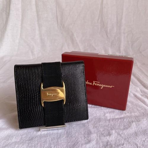 FERRAGAMO -Vara- Leather Folded Wallet -Black-