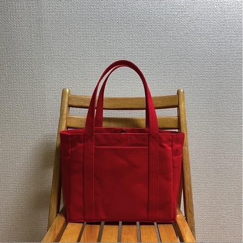 「混合トート」中サイズ「赤」 帆布トートバッグ 倉敷帆布8号【受注制作】