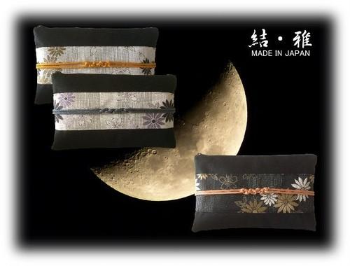 ポーチ 日本製 和風 ファスナー式横型ポーチ 帯 帯び締め風 菊と桜柄 日本製