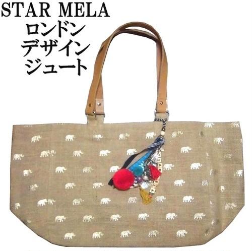 STAR MELA スターメラ トートバッグ ゴールド象さん ジュート 大きめ マチあり ELE PRINT JUTE TOTE BAG インド製