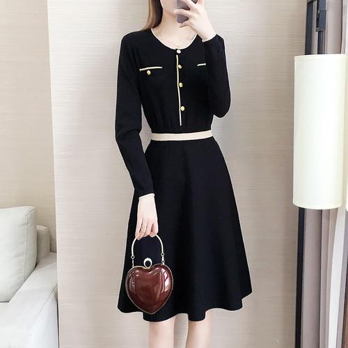 【ワンピース】優しい雰囲気ファッションラウンドネックAライン配色ニットワンピース22836478