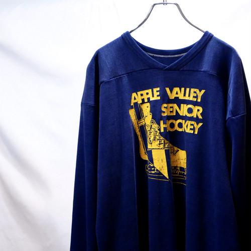 【VINTAGE】70s ナス紺 フットボール Tシャツ 五分袖