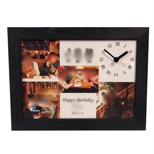 【受注制作】2L/4カット/オーダーメイド/フォト時計/フォトフレーム/ギフト/お祝い/記念日/誕生日/写真で作る/贈り物/シンプル/クール/彼氏へのプレゼント