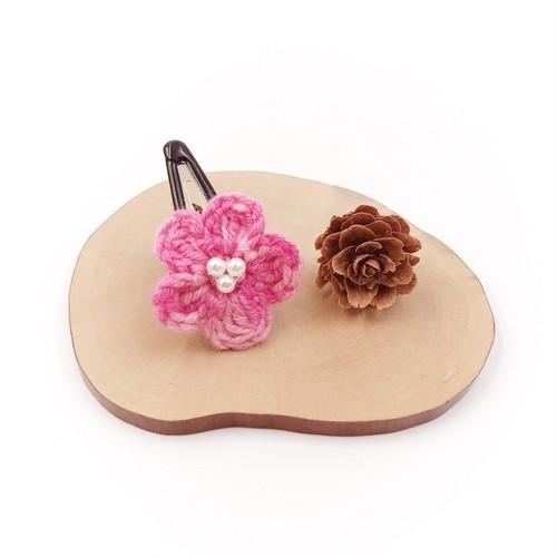 段染め小花のパッチンピン*ピンク