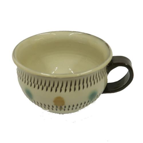 小鹿田焼 スープカップ大 青赤ポイント 小袋定雄窯