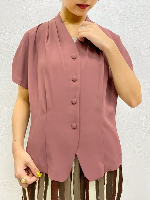 (TOYO) no collar s/s blouse