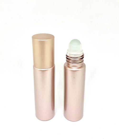 【ロールオンボトル】10ml ピンク 携帯 化粧 アロマ 器材 遮光 旅行 詰替 容器 シャンパンピンク