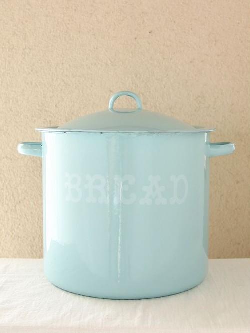 ブルーホーローポット缶11L*キッチン収納ゴミ箱*琺瑯*アンティーク