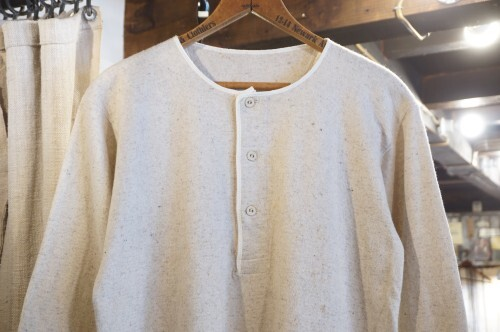 50's wool blend knit henley-neck Thermal