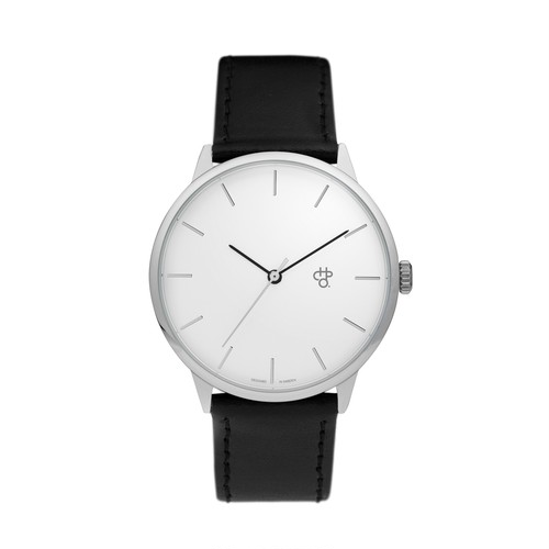 KHORSHID SILVER【CHPO】 Silver dial. Black vegan leather strap