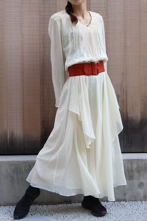 80's chiffon long dress