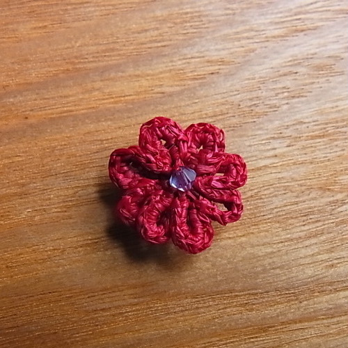 ラフィア手編み帯留め 赤