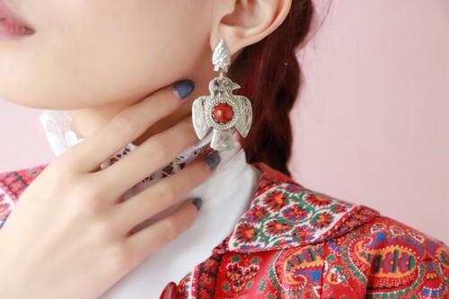 silver 925 + red jesper bird earrings