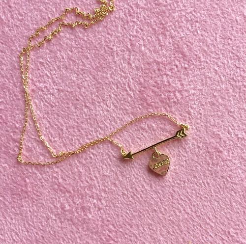 K18YG #0001 HEART ARROW NECKLACE ハートと矢のネックレス/18金イエローゴールド