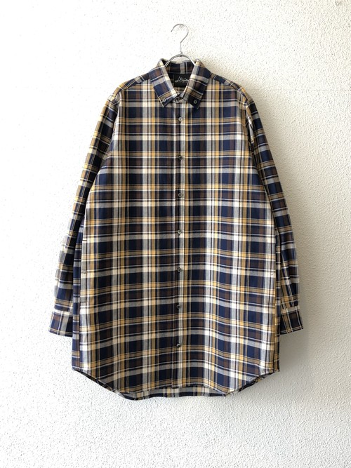 "【20003】HEAVY TWILL CHECK SHIRT (LONG LENGTH) ""NAVY CHECK"""