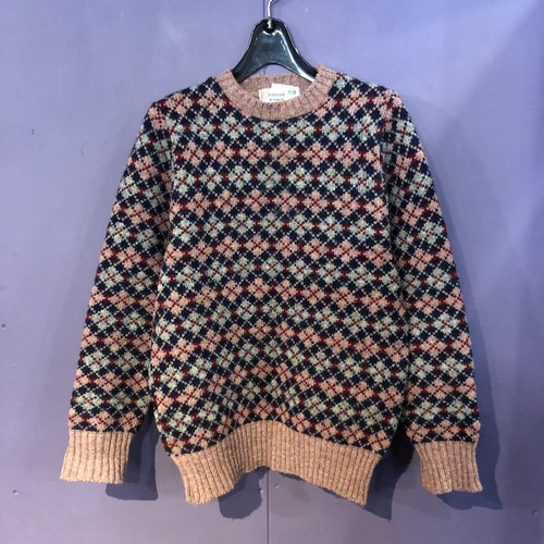 70's pink×navy argyle knit[B1209]