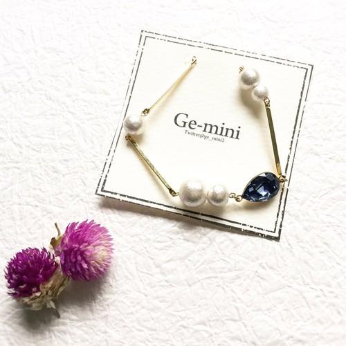Ge-mini コットンパールとスティックブレスレット