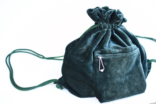 【FILL THE BILL】VELVET KNAPSACK - CHROME GREEN