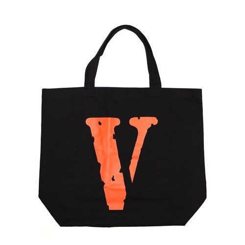 VLONE Logo Tote Bag L BLACK × ORANGE