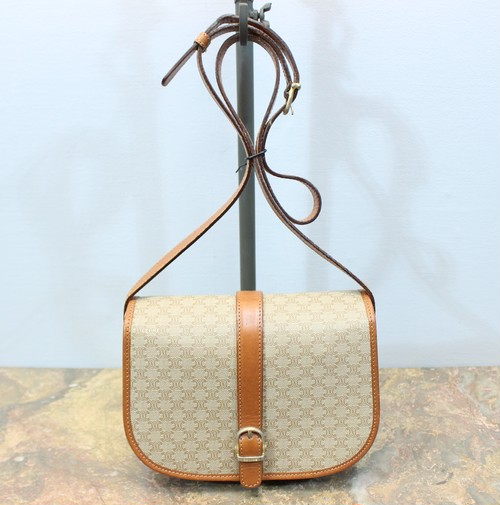 .OLD CELINE MACADAM PATTEREND BELTED SHOULDER BAG MADE IN ITALY/オールドセリーヌマカダム柄ベルテッドショルダーバッグ 2000000029085
