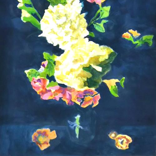 絵画 絵 ピクチャー 縁起画 モダン シェアハウス アートパネル アート art 14cm×14cm 一人暮らし 送料無料 インテリア 雑貨 壁掛け 置物 おしゃれ イラスト 現代アート  ロココロ 画家 : なったこ 作品 : 華2