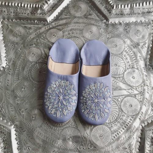 スパンコール刺繍Babouche (LV×WH×オーロラ)