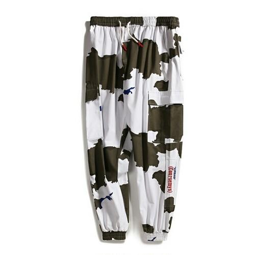 送料無料メンズ大きい男性サイズコントラスト配色迷彩柄ジョガーパンツ