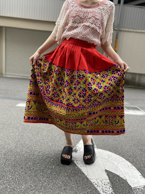 mirror work embroidery skirt