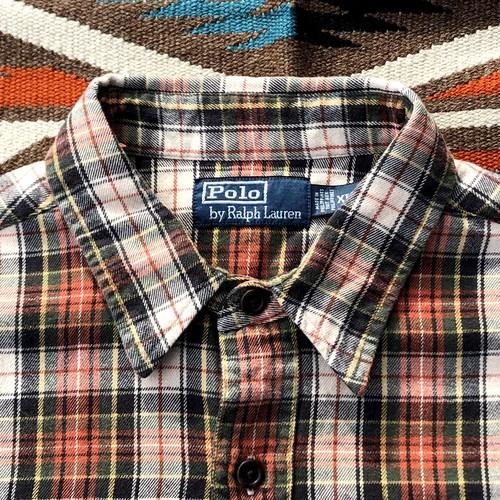 ラルフローレン ビンテージ ヘビーネルシャツ チェック ビッグサイズ(XL) Polo by Ralph Lawren