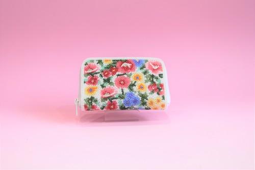 ビーズ刺繍 財布 (#99 紺花白)