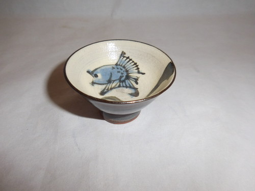 魚絵盃 pottery sake one cup