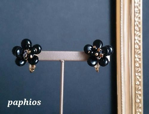 [イヤリング] flower-petit / black