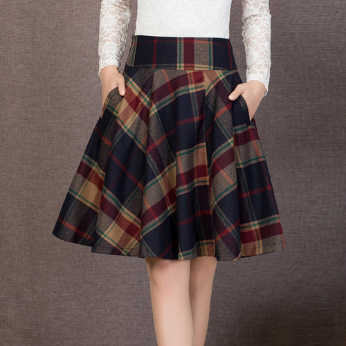 チェック柄ミドル丈スカート 2色 M~4XL 大きいサイズ ボトムス スカート レディーススカート ミドル丈 チェック柄 Aライン フレア ハイウエスト 着回し 大人可愛い デイリー お出かけ オフィス 秋新作 HI-1910-0002382