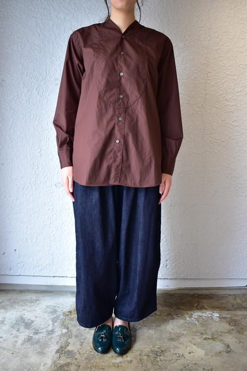 【Phlannèl】Evening Shirt (Women's)  Maroon Brown