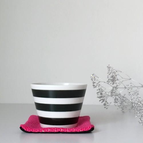 """手織りリバーシブルコースター""""Black & Pink"""""""