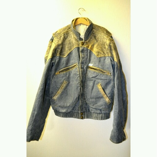 "old ""GUESS"" Denim&Leather Jacket"