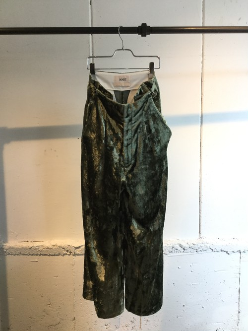 PONTI   CRUSH VELVET WIDE PANTS