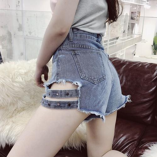【ボトムス】ファッション無地デニムダメージ加工ショートパンツ