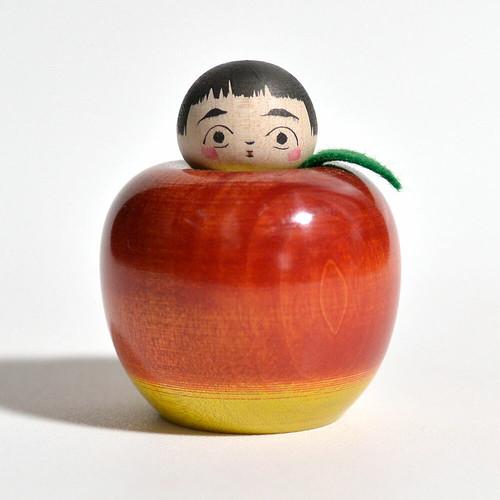りんごえじこちゃん(赤りんご) 約2寸 約5.7cm 長谷川優志 工人(津軽系)#0105