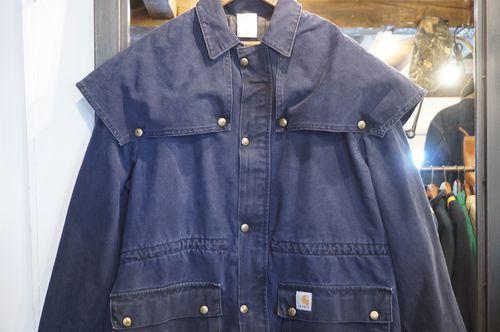 80's Carhartt navy duck zip-up Jacket w/umbrella yoke