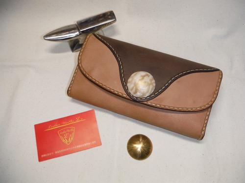 大きめ デザイン 3つ折り財布 ビッグコンチョ 手縫い